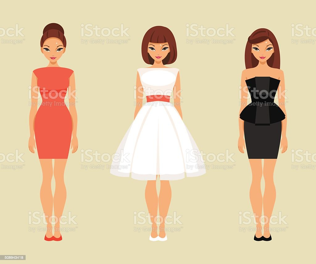 Girls in red, white and black dresses vector art illustration
