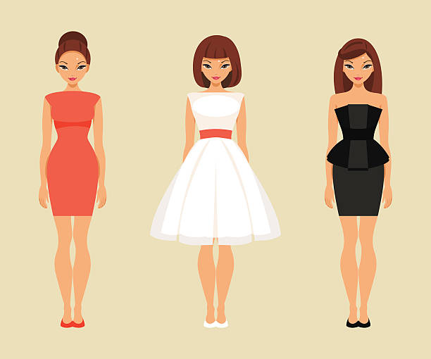 bildbanksillustrationer, clip art samt tecknat material och ikoner med girls in red, white and black dresses - klänning