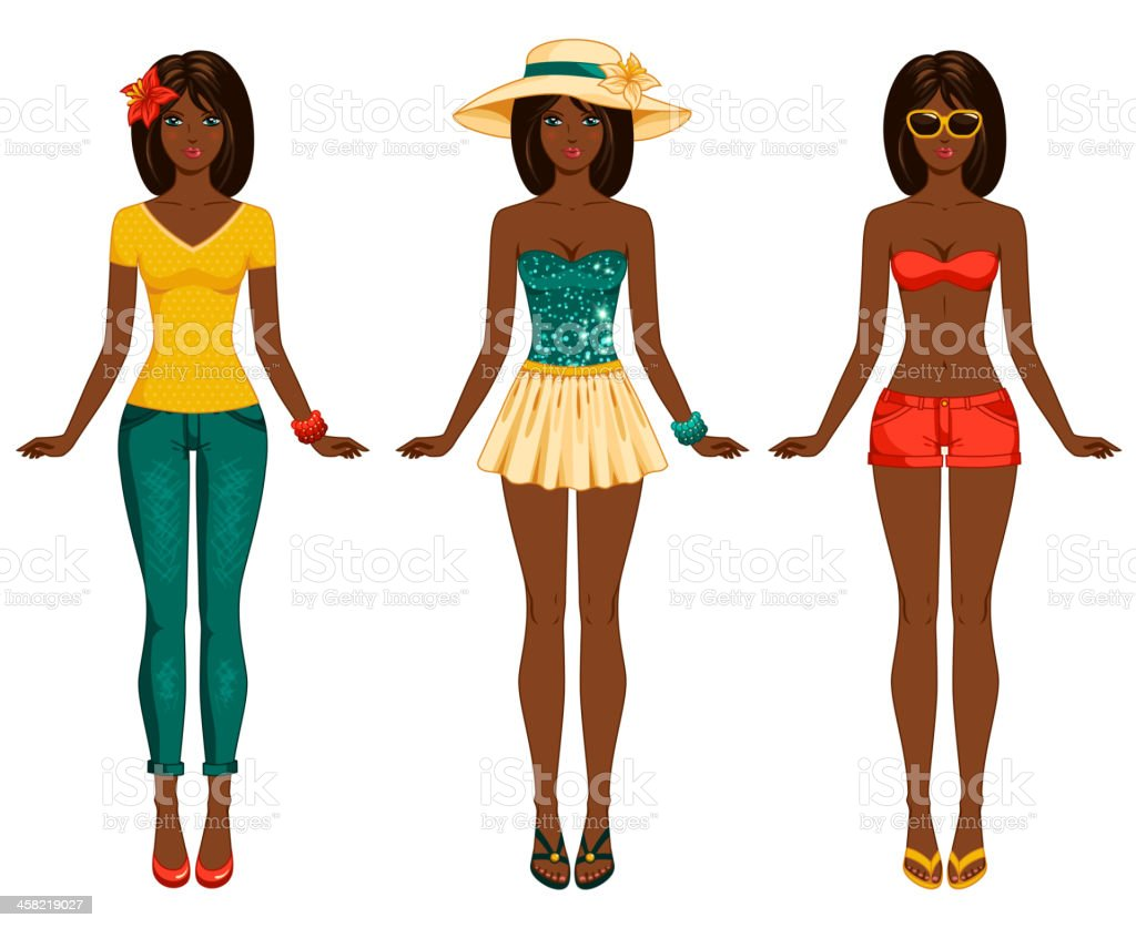 Girls in summer clothes. royalty-free stock vector art