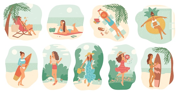 Girls in swimsuit and dress summer vacation. Women sunbathe on beach with surfboard, swim in pool on inflatable circle. Set vector isolated illustrations flat cartoon style