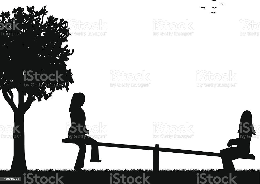 Girls in the park on a seesaw silhouette royalty-free stock vector art