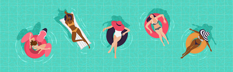 Girls in the pool top view. Vector illustration, banner.