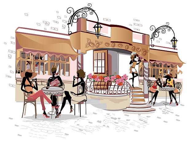 girls in the street cafe. - ロンドンのファッション点のイラスト素材/クリップアート素材/マンガ素材/アイコン素材