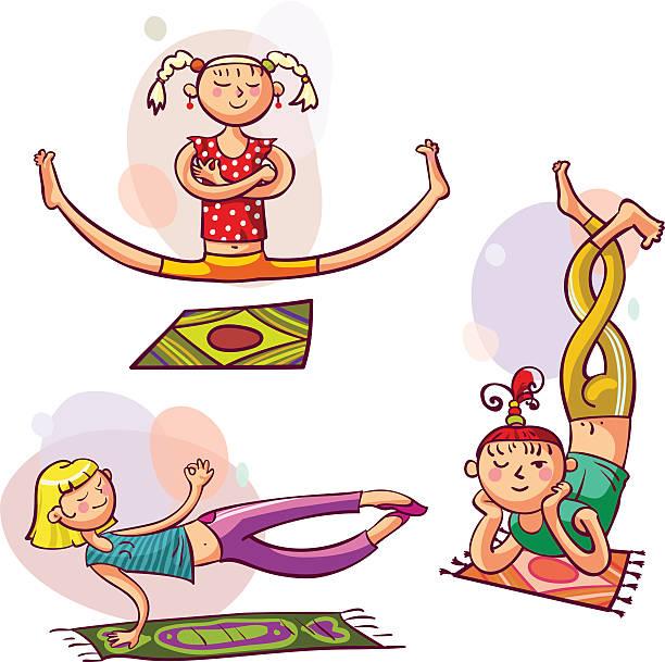 mädchen in yoga-posen - spagat stock-grafiken, -clipart, -cartoons und -symbole