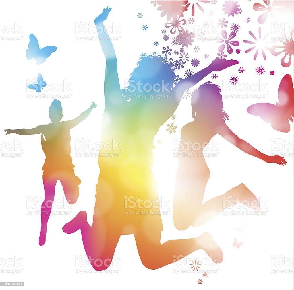 Girls Jumping in the Summer. vector art illustration
