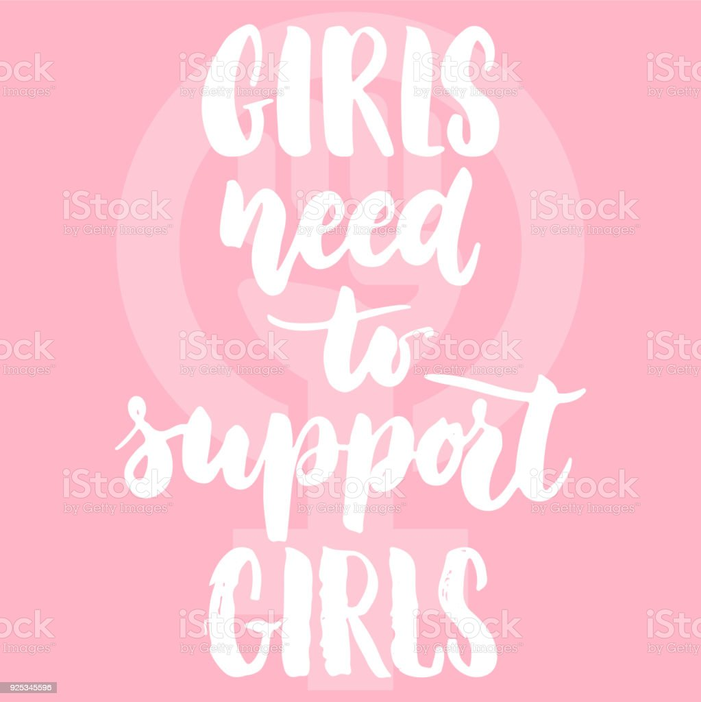 Ilustración De Niñas Necesitan Apoyo A Chicas Frase De