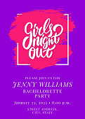 Girls night out. Bachelorette party vector invitation. Vector hand drawn illustration.