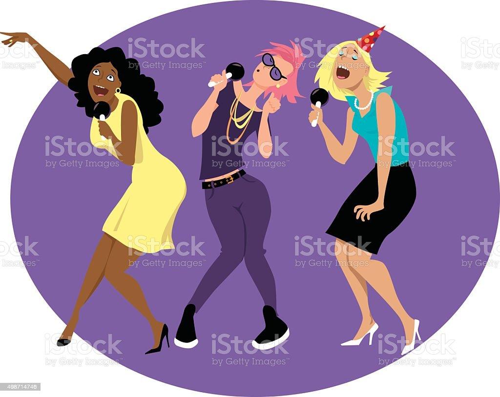 Soirée entre filles karaoké - Illustration vectorielle