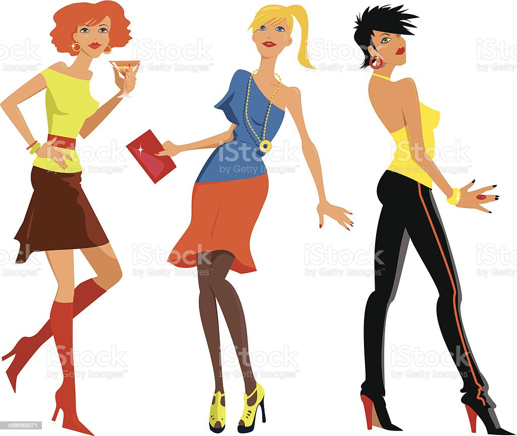 girls night out stock vector art more images of adult 456565071 rh istockphoto com