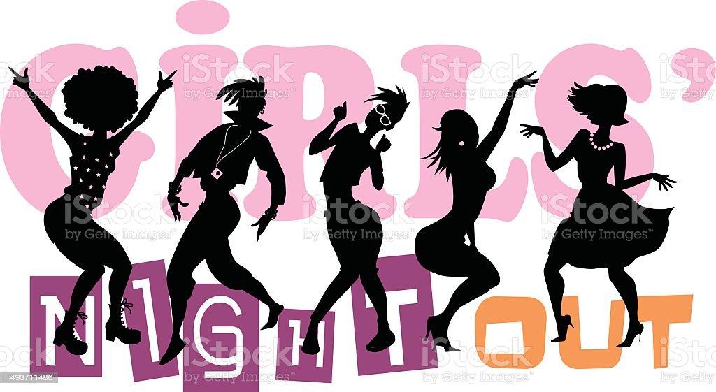 Soirée entre filles - Illustration vectorielle