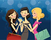 3 colorful females enjoying a girls night out. File is super easy to edit in Adboe illustrator.
