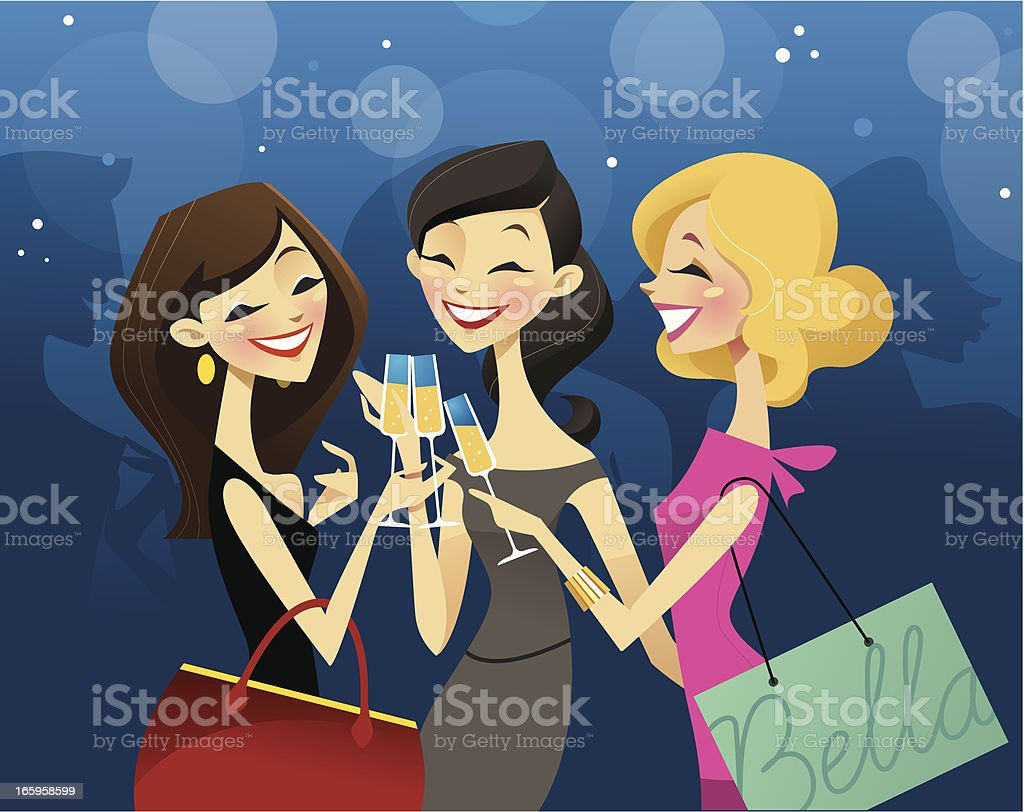 Girls Night vector art illustration