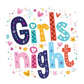 Girls night - decorative type lettering design