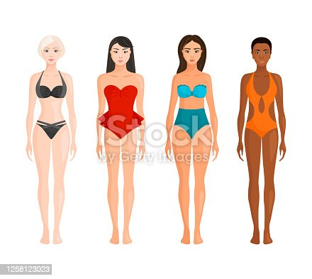 Young women with different body types, skin and hair color. Girls of different races in fashionable swimsuits. Vector illustration in cartoon style. Bodypositive. Diversity.
