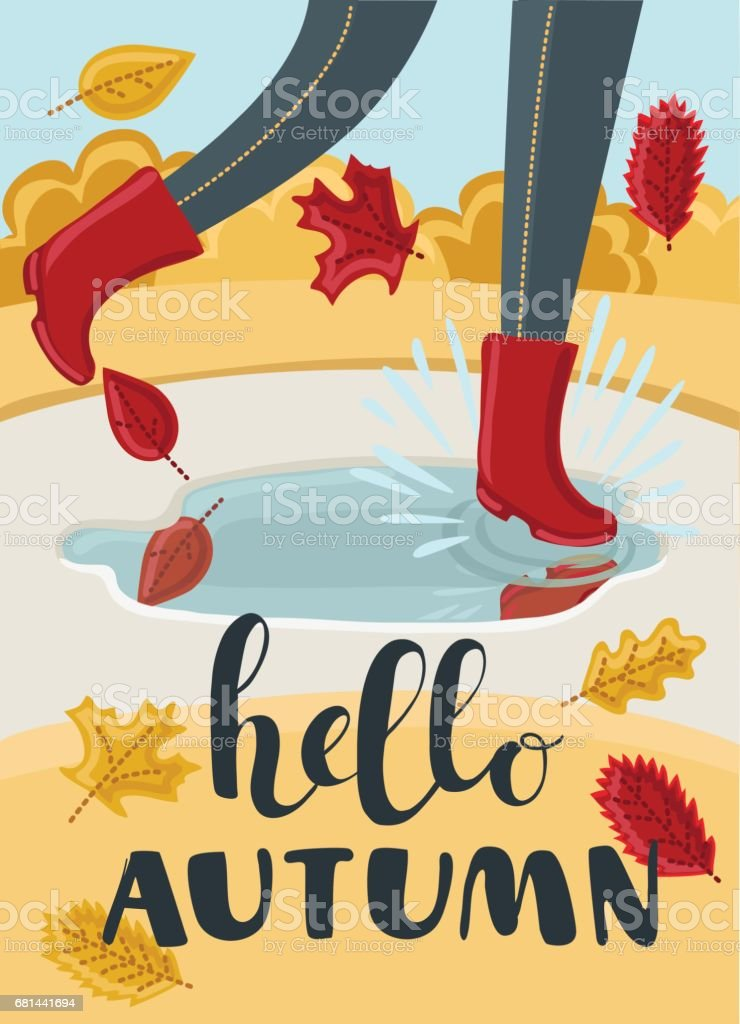 Girls or kids legs in rubber boots playing in the puddle. Falling leaves arround. Children jumping and splashing through the puddles in park in the Fall. Hello Autumn concept. vector art illustration