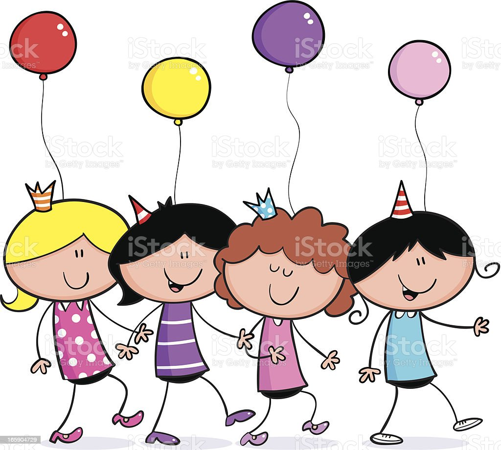 Girls party dance vector art illustration