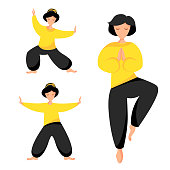 Vector illustration set of girl perform qigong, tai chi and yoga exercises