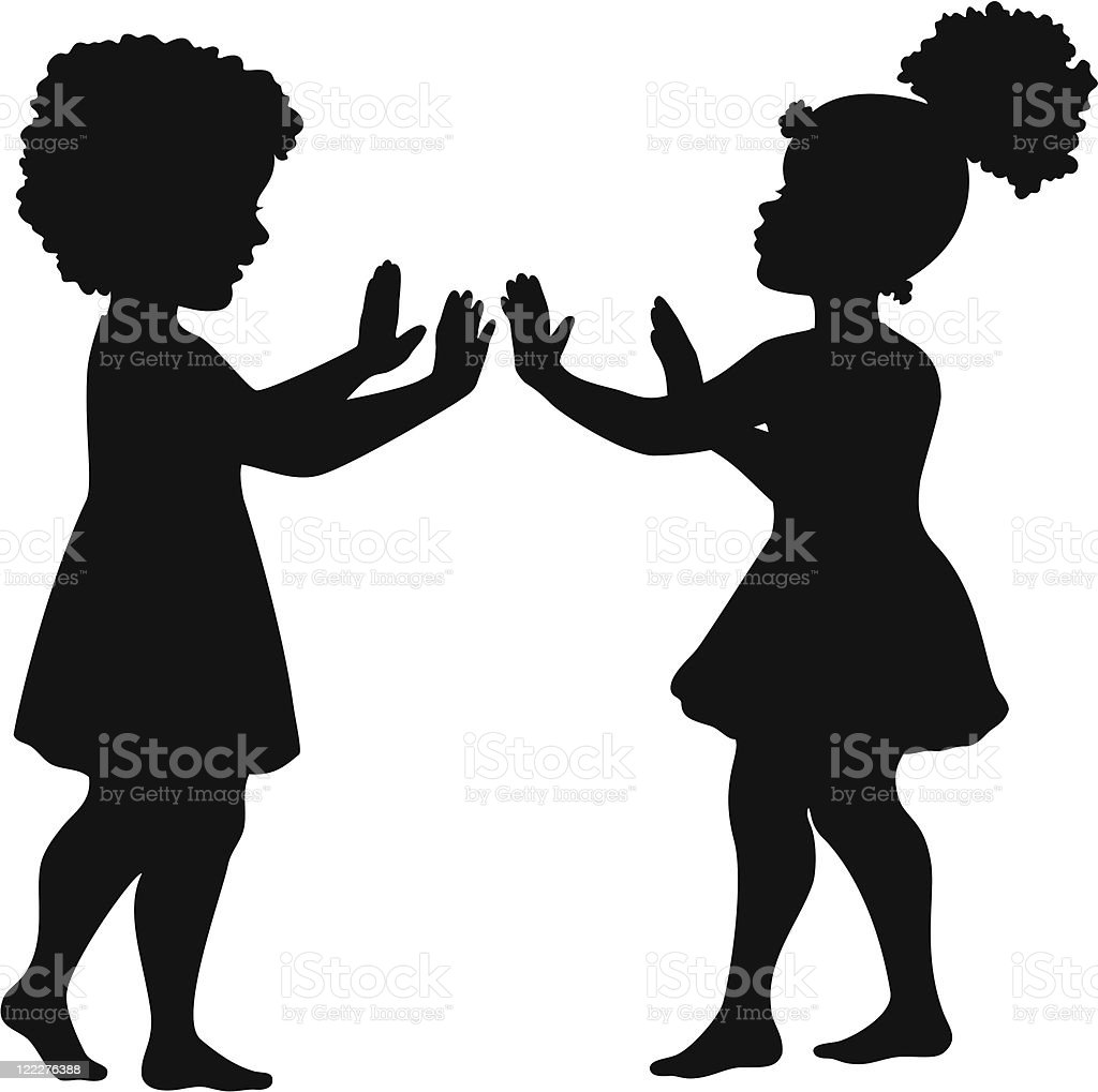 Girls playing hand clapping game vector art illustration