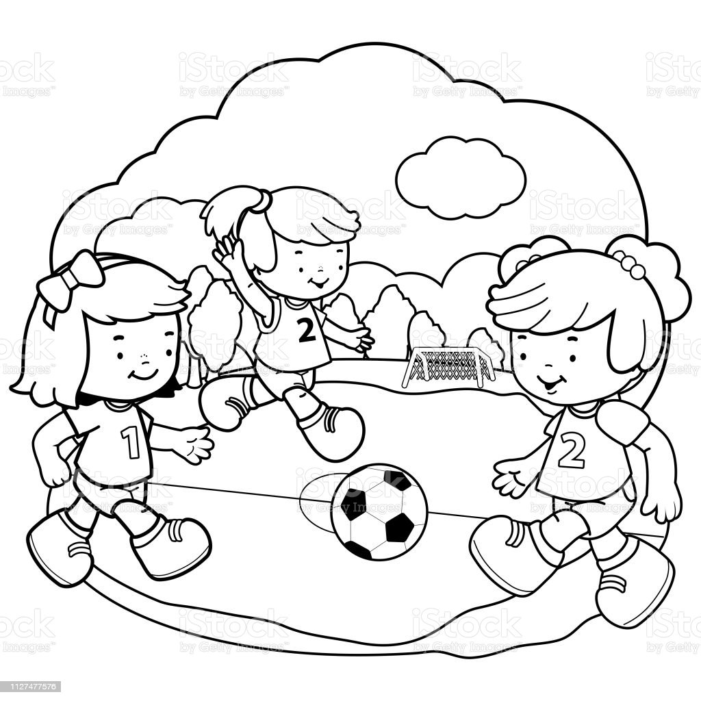 Girls Playing Soccer Vector Black And White Coloring Book ...