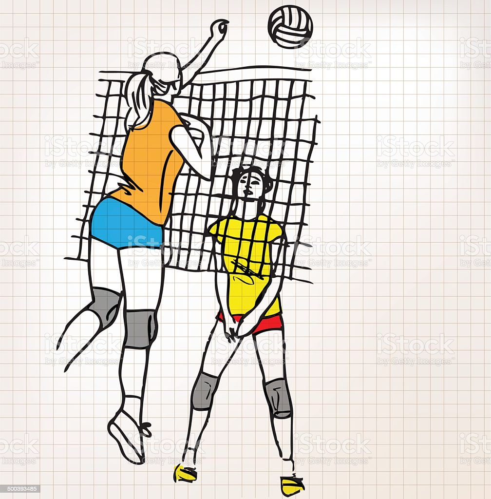 Girls playing volleyball sketch illustration royalty-free stock vector art