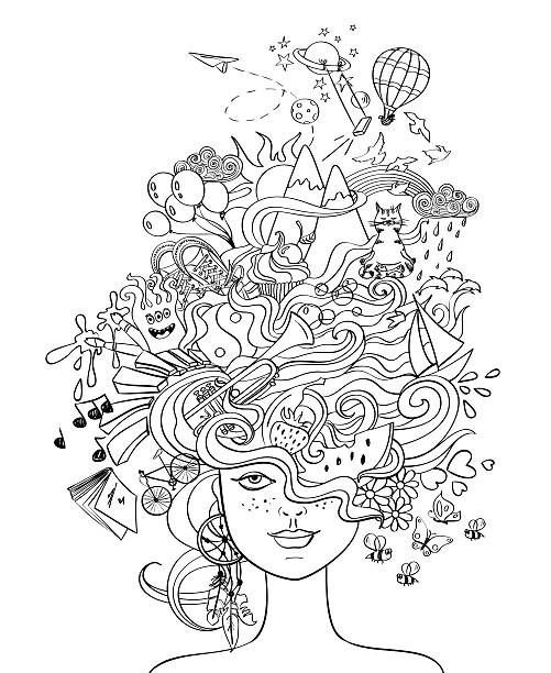 girl's portrait with crazy hair - lifestyle concept. - 힙스터 사람 stock illustrations