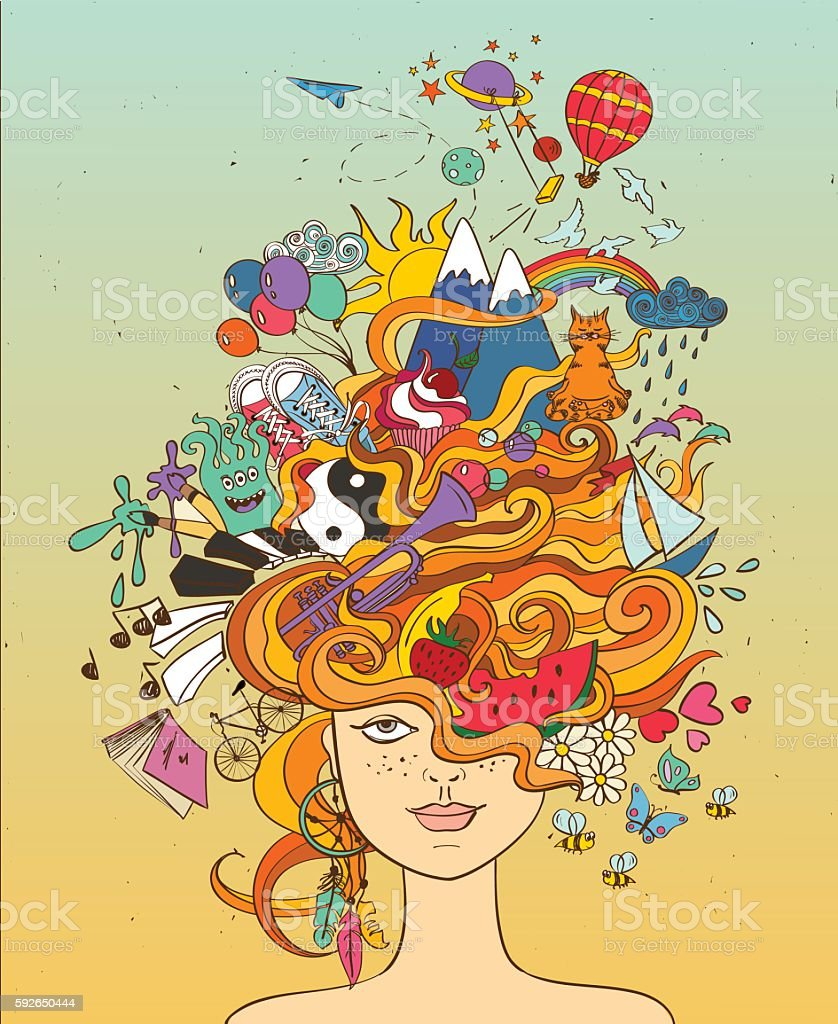 Girl's Portrait With Crazy Hair - Lifestyle Concept. royalty-free girls portrait with crazy hair lifestyle concept stock illustration - download image now