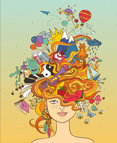 Girls Portrait With Crazy Hair Lifestyle Concept Stock Illustration - Download Image Now