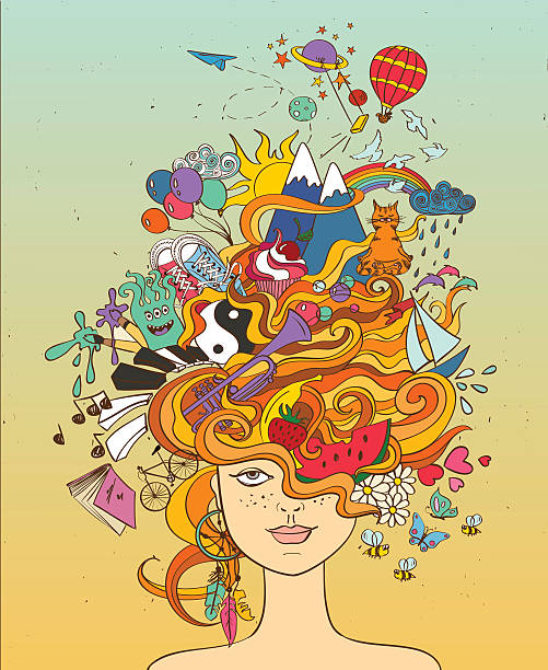 girl's portrait with crazy hair - lifestyle concept. - book patterns stock illustrations