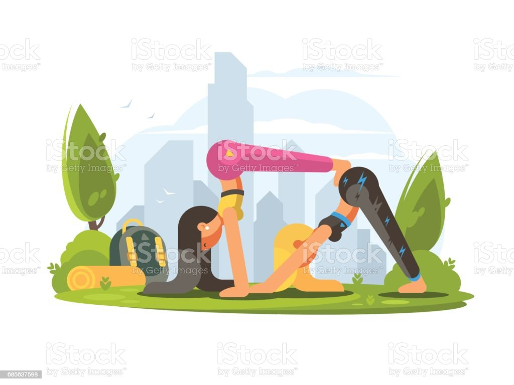 Girls practice yoga in park royalty-free girls practice yoga in park stock vector art & more images of adult