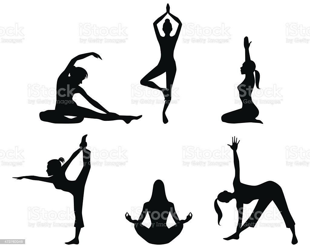 Girls practicing yoga silhouettes vector art illustration