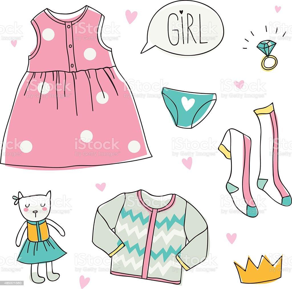 プリンセスおしゃれなドレスの着ぐるみガールズ - 2015年のベクター