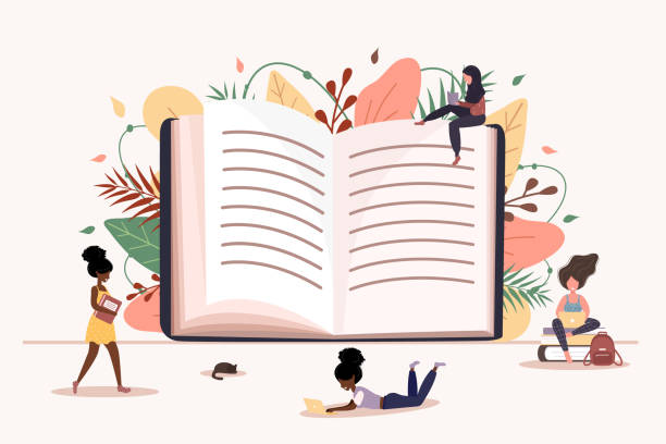 Girls reading a book in her hands. Smart students. Exam. Modern vector illustration in flat style. Girls reading a book in her hands. Smart students. Exam. Modern vector illustration in flat style book club stock illustrations