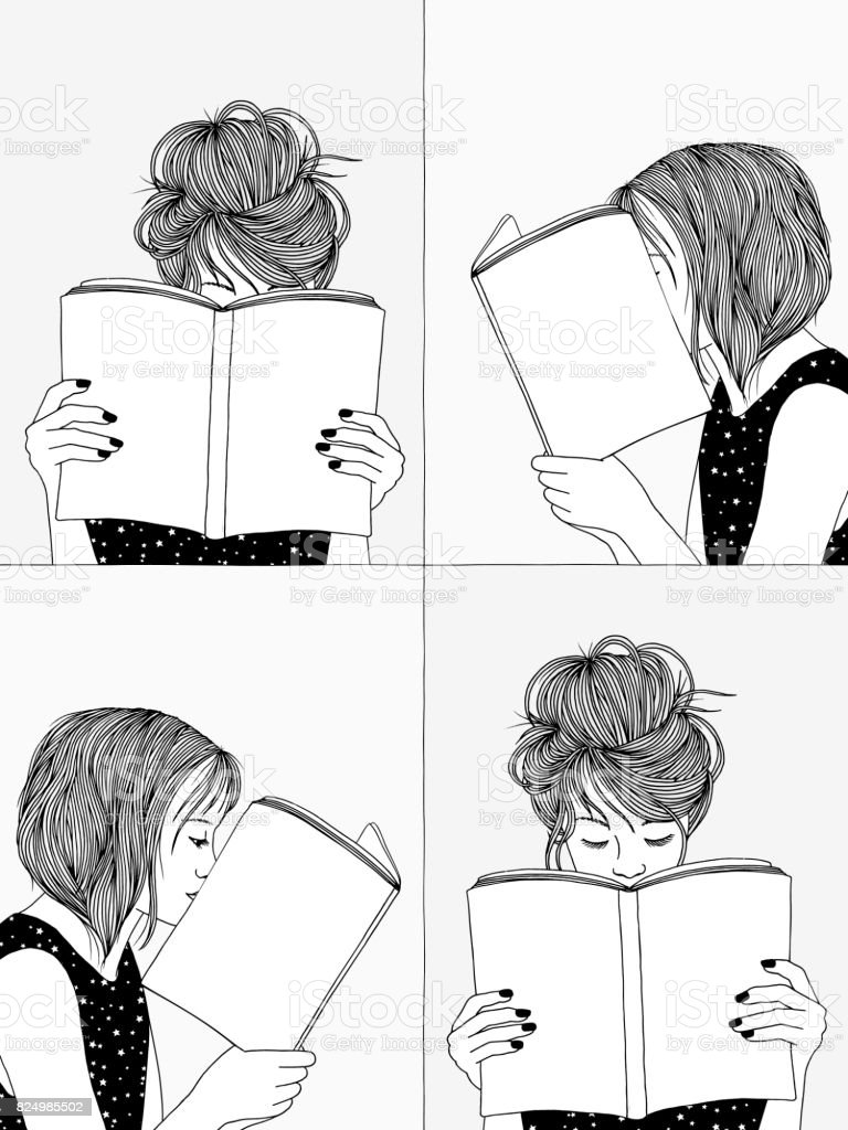 Girls reading - black and white illustration vector art illustration