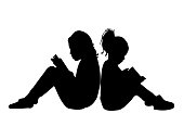 girls reading book, silhouette vector