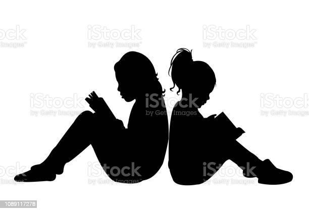 Girls reading book silhouette vector vector id1089117278?b=1&k=6&m=1089117278&s=612x612&h=f ld4miy fegpwups7r5ecblgivmatlrhyjlnl34k3m=