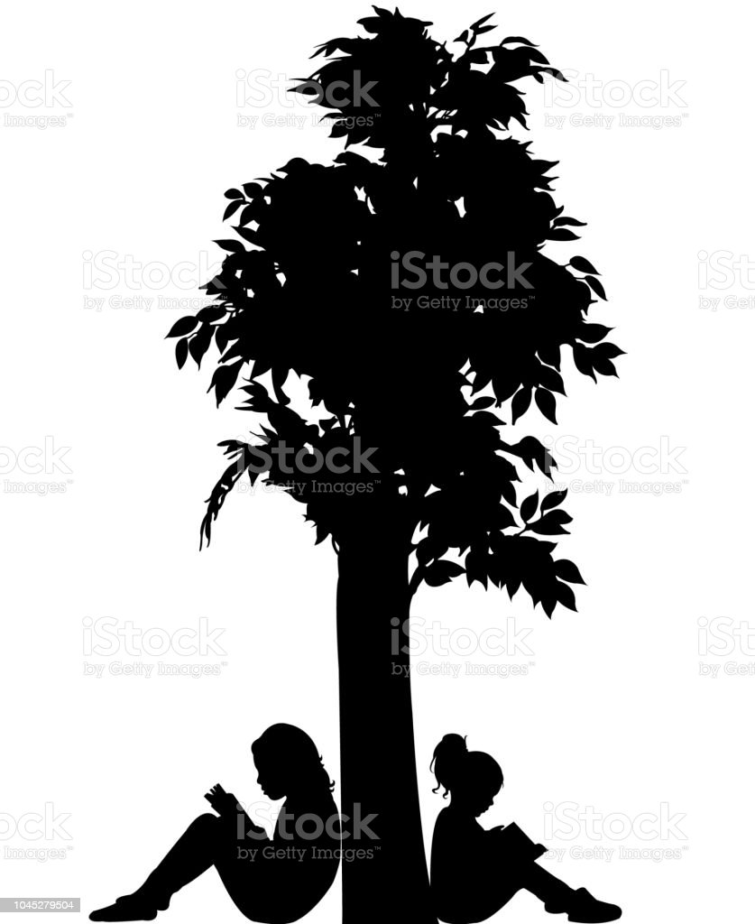 Girls Reading Book Under Tree Silhouette Vector Stock ...