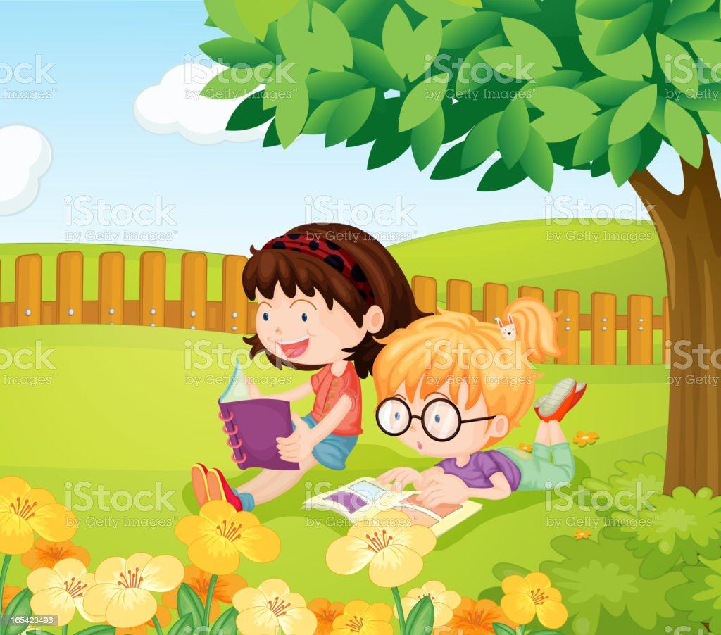 Girls reading books royalty-free stock vector art
