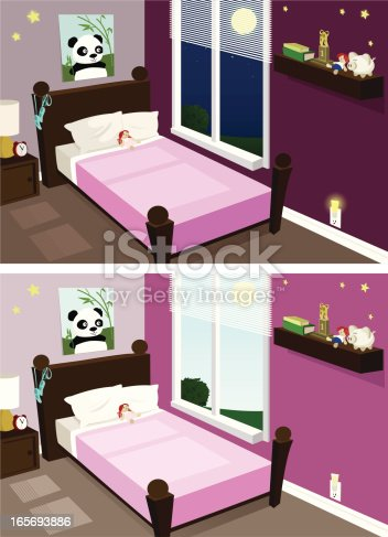A cute girls room, night or day! Rooms grouped on two separate layers.