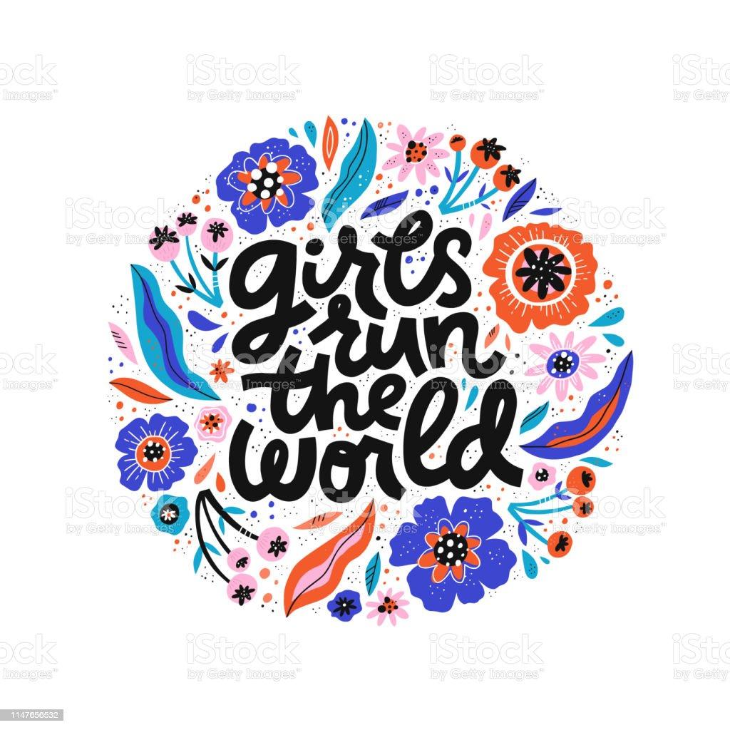 여자는 세계 손으로 그려진 된 검은 글자를 실행 - 로열티 프리 0명 벡터 아트