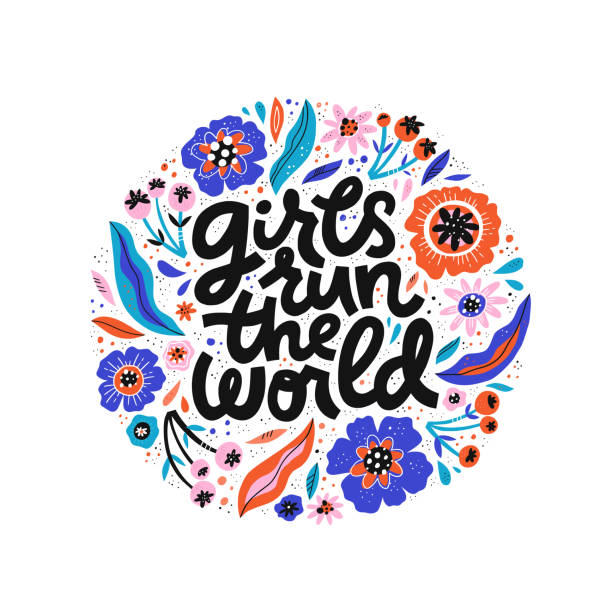 Girls run the world hand drawn black lettering Girls run the world hand drawn black lettering. Song phrase inside floral circle frame sketch drawing. Inspirational feminism slogan clipart. Round border with flowers and girl power quote composition lyric stock illustrations