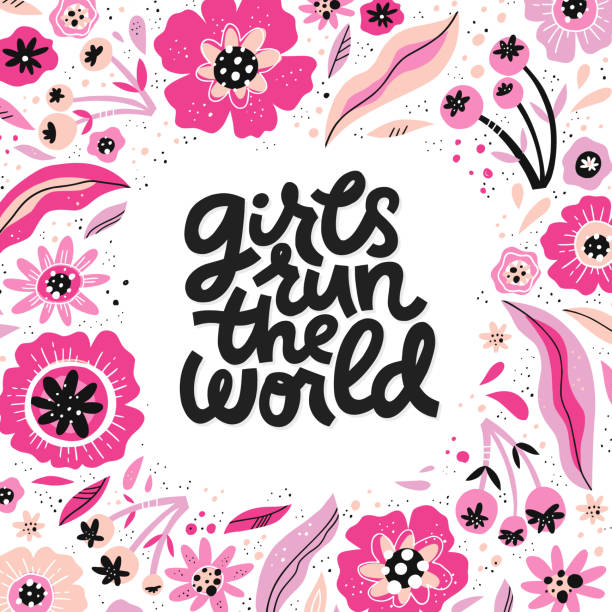Girls run the world hand drawn vector lettering Girls run the world hand drawn vector lettering. Song phrase inside floral frame drawing. Inspirational feminism slogan. Border with flowers. Girl power quote. Women's day greeting card template lyric stock illustrations