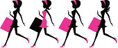 Vector illustration - Girls running with shopping bags.