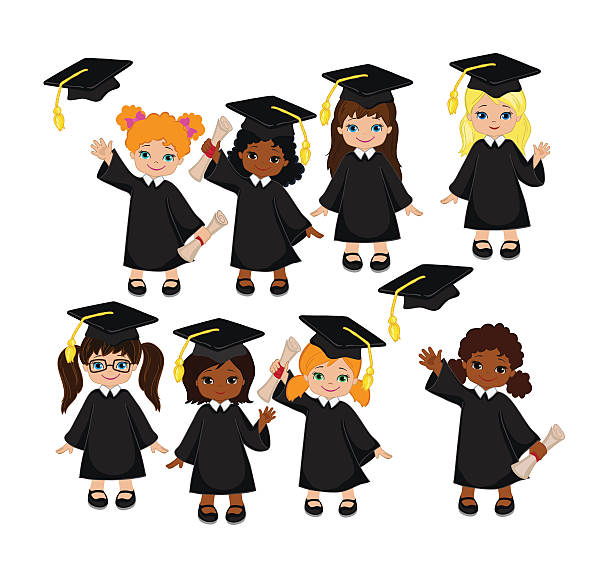 Royalty Free Preschool Graduation Cap And Gown Clip Art, Vector ...