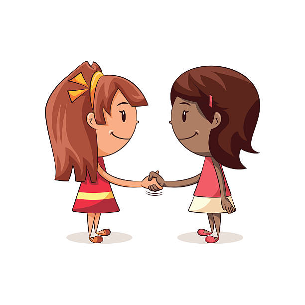 Girls shaking hands Girls shaking hands, cute kids handshake, happy cartoon characters, female, friendship, vector illustration, isolated, white background affectionate stock illustrations