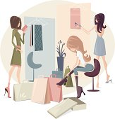 """""""Illustration of three girls in a shop. Women figures, boxes and background are grouped and layered separately. JPG file in a high resolution also available."""""""