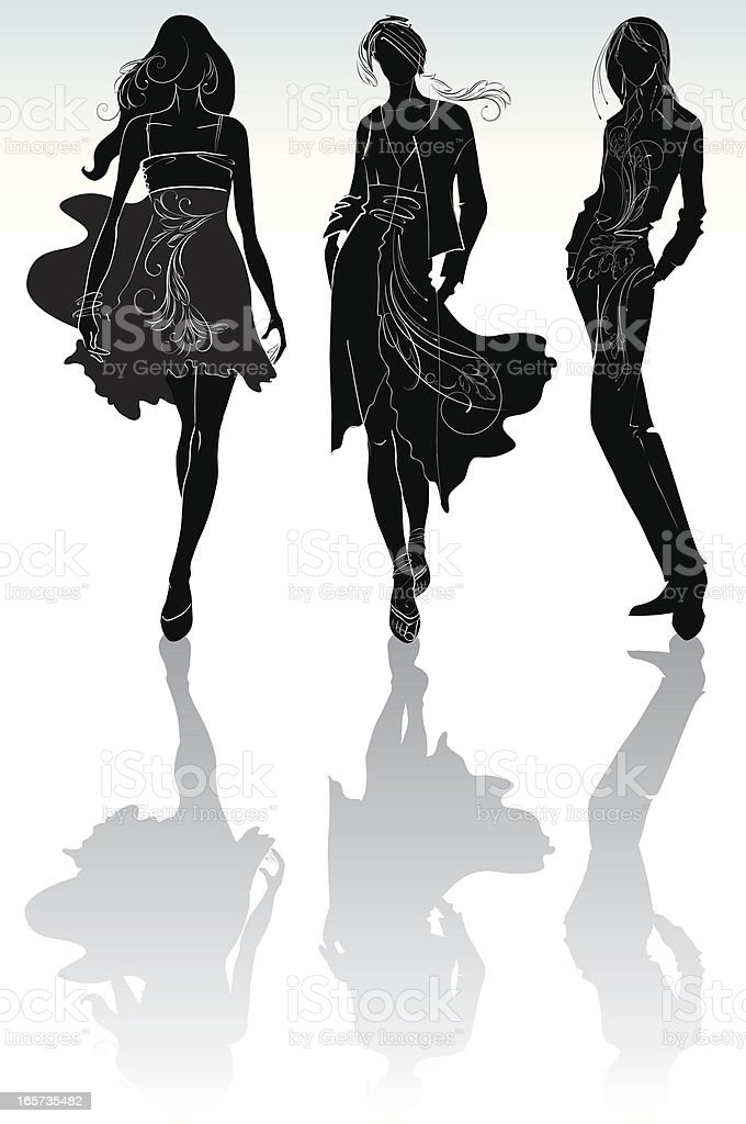 Girls silhouette with the ornament. royalty-free stock vector art