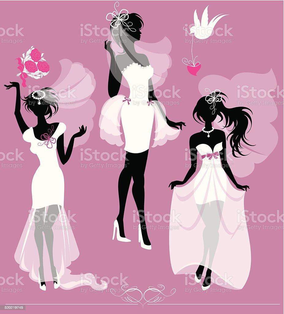Mädchen Silhouetten Anziehen Hochzeit Kleid Schuhe Und Bridal Veil ...