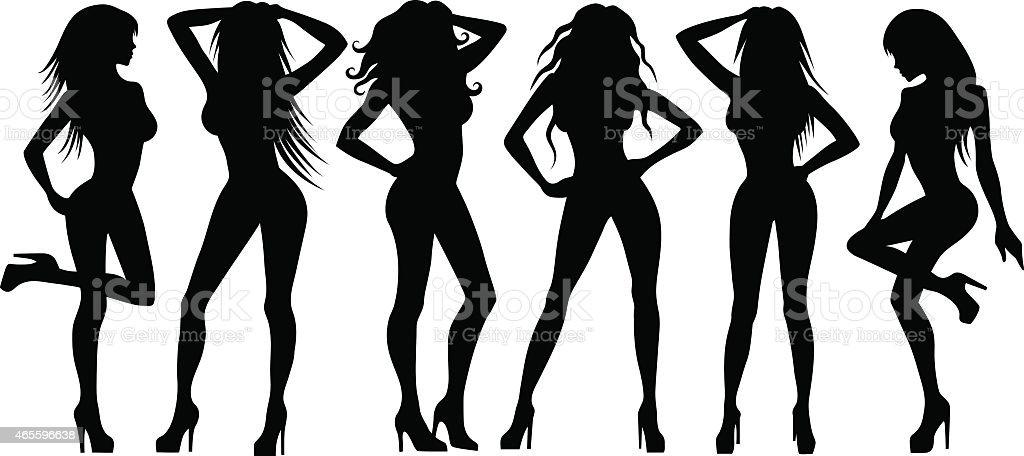 Girls silhouettes on white vector art illustration