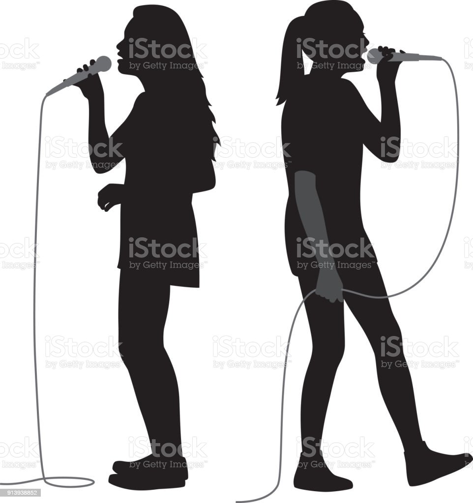 Girls Singing into Mic Silhouettes vector art illustration