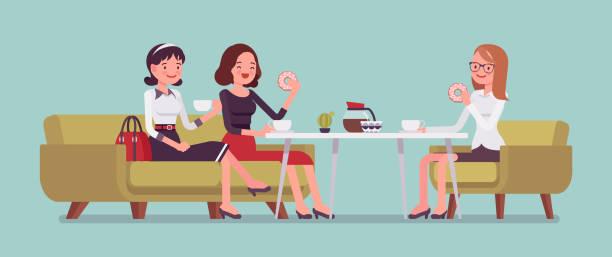 stockillustraties, clipart, cartoons en iconen met meisjes zitten in een cafe - breakfast table